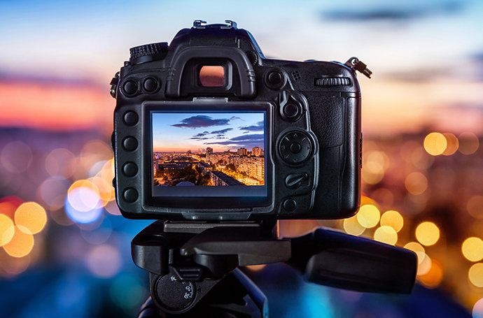 Macro shot of focused cityscape at dusk in an optical viewfinder