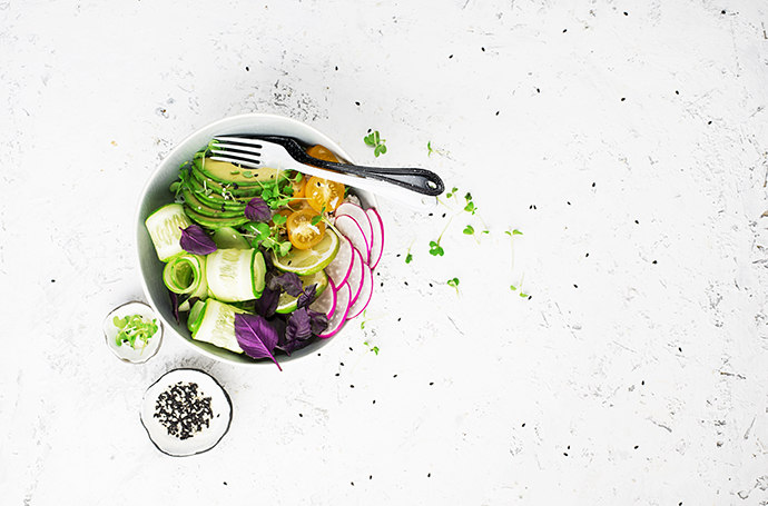 Uniquely sliced vegetables and fruit salad picture using the rule of thirds