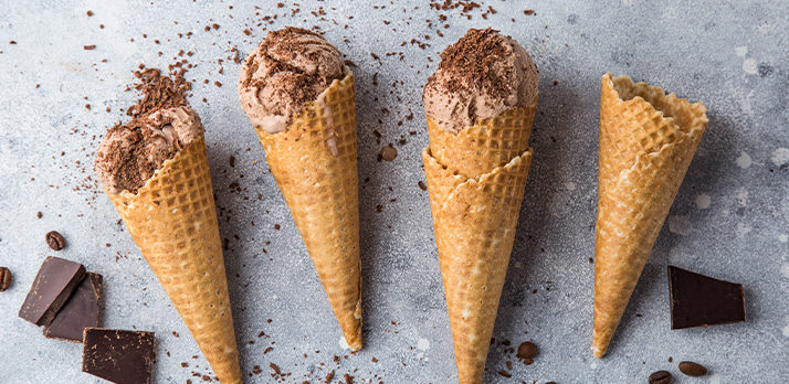 Fun food picture of chocolate ice cream cones with a dark chocolate dust