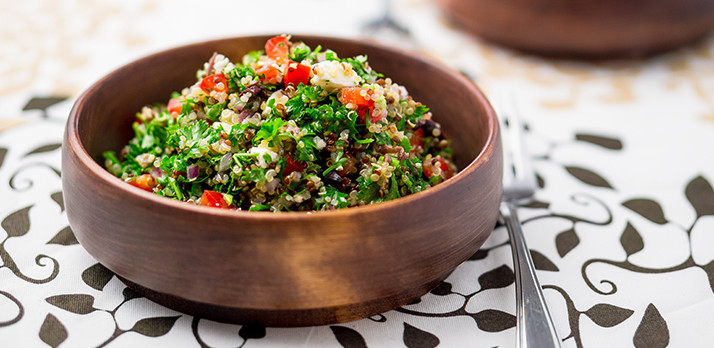 Beautiful food photo of a garden fresh quinoa salad