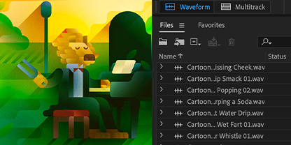 Add cartoon and comic sound effects  to your audio project