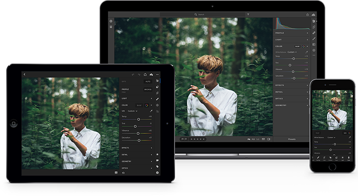 Easily edit your photos anywhere with Lightroom.