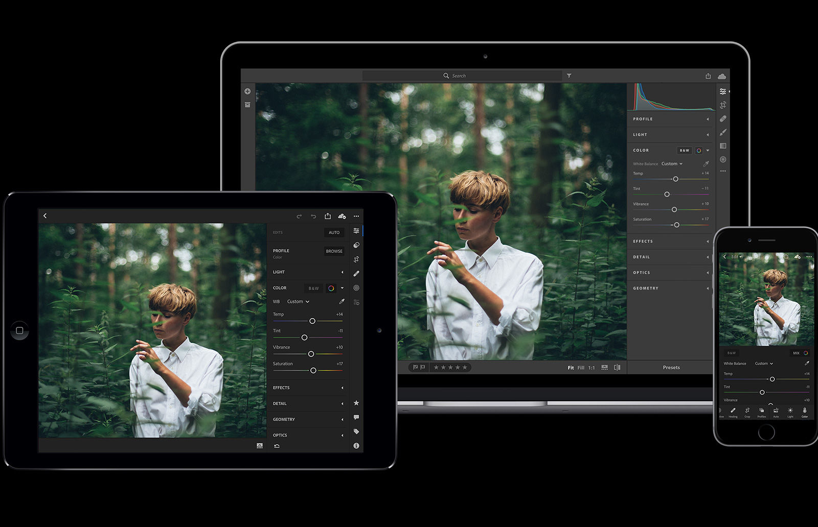 In Adobe Lightroom, images are stored entirely in the cloud. Edits made to an image appear automatically on all other synced devices.