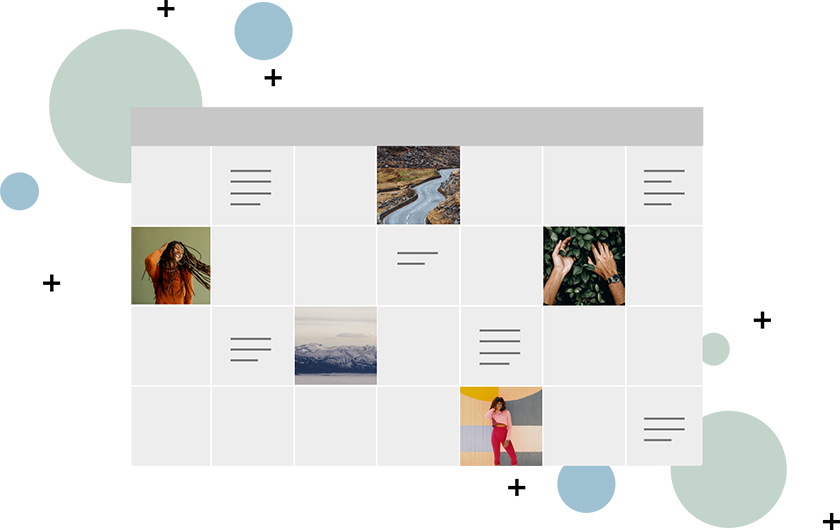 Editorial calendar example with some days filled in with images or example text