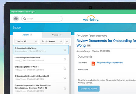 Workday integration with Adobe Sign| Electronic signatures, e-sign