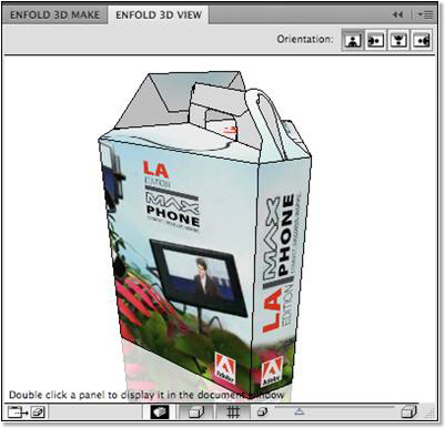3D view of the MAX Phone packaging in Strata Enfold 3D.