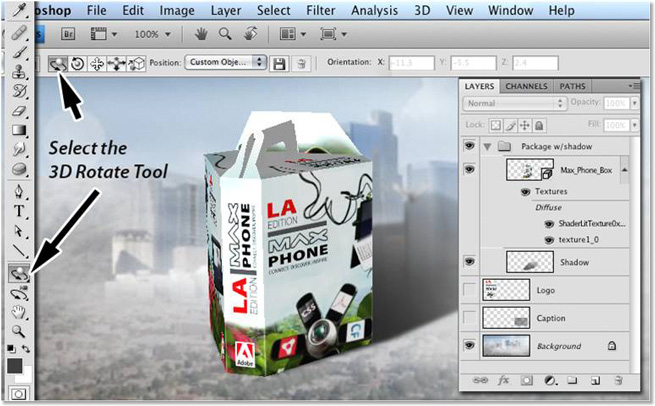 Modifying 3D layers in Photoshop Extended.