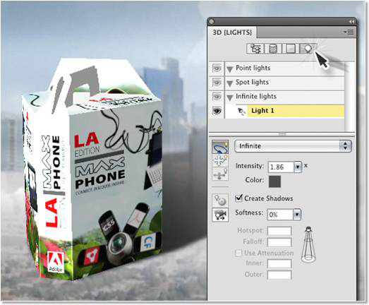 The 3D Lights panel in Photoshop Extended enables you to manipulate the lighting of your 3D object.