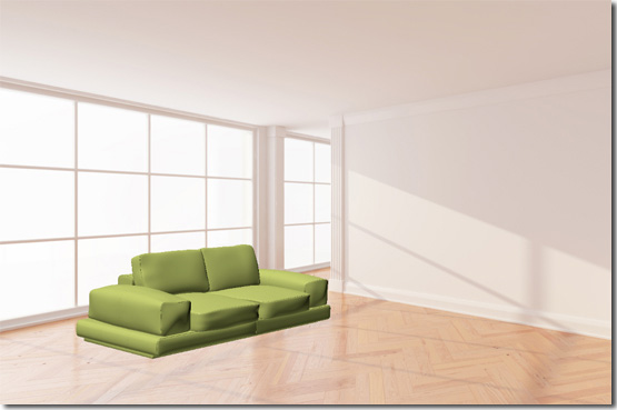 The Colored 3D Sofa Model.
