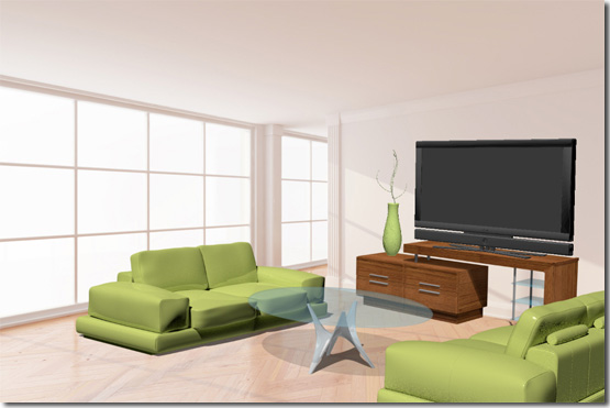 The Final Look Of The Living Room 3D Scene.