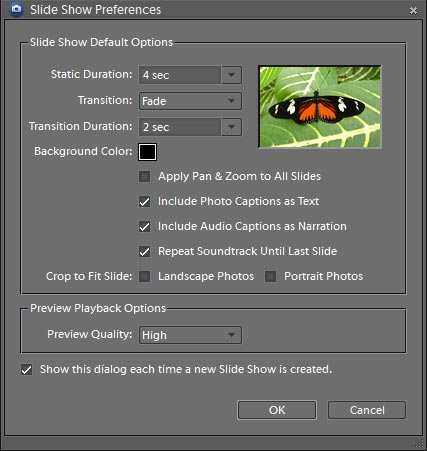 Creating a slide show in adobe photoshop elements 60 figure 1 the slide show preferences dialog box ccuart Image collections